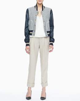 Rachel Zoe Ryder Leather-Sleeve Baseball Jacket, Quincy Draped High-Low Blouse & Cannes Pleated Cuffed Pants