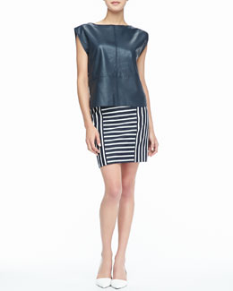 Rachel Zoe Wilson Leather Zip Top & Barrow Striped Pencil Skirt