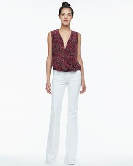 Rachel Zoe Kiara Printed High-Low Blouse & Rachel Corduroy Flare Jeans