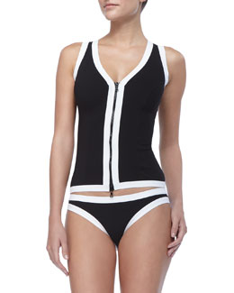 Karla Colletto Front-Zip Swim Vest & Contrast Hipster Swim Bottom