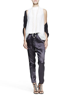 Brunello Cucinelli Kimono-Sleeve Cardigan, Pleated Chiffon Top, Satin Drawstring Pants & Long Necklace