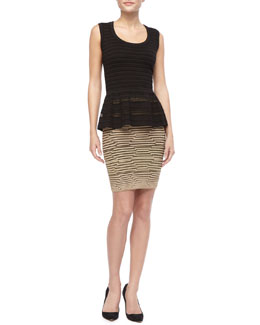 M Missoni Sleeveless Peplum Knit Top & Metallic Hexagon Striped Skirt