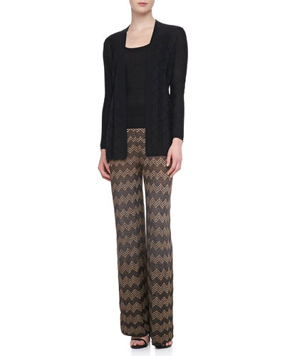 M Missoni Long Zigzag Knit Cardigan, Tank & Metallic Wide-Leg Pants