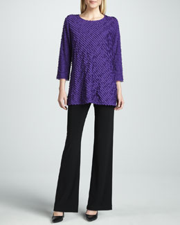 Caroline Rose Bias-Ruffled Knit Tunic & Knit Straight-Leg Pants, Women's