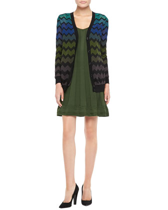 Zigzag Knit Cardigan & Sleeveless Ribbed Knit Dress