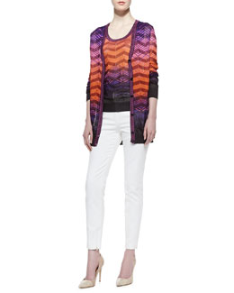 M Missoni Bias-Plaid Long-Sleeve Cardigan, Bias-Plaid Tank Top & Cotton Skinny-Leg Pants