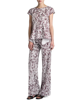 Jil Sander Rest Printed Cocoon Top & Romano Printed Wide-Leg Pants