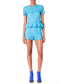 Emilio Pucci Short-Sleeve Lace Peplum Top & Shorts