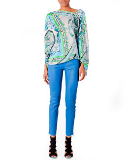 Emilio Pucci Printed Charmeuse Poncho Top and Leather Zip Skinny Pants