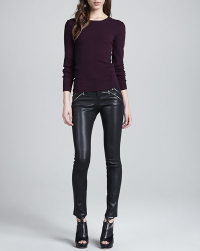 J Brand Ready to Wear Elena Relaxed Cashmere Sweater & Claudette Leather Pants