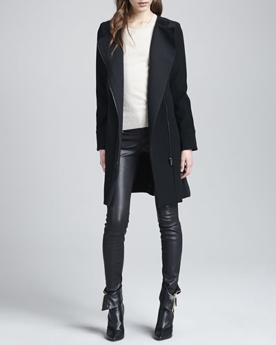 J Brand Ready to Wear Florence Asymmetric-Front Coat, Elena Relaxed Cashmere Sweater & Claudette Leather Pants