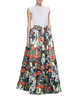 Alice + Olivia Sleeveless Slub Tee & Tina Floral Ball Gown Skirt