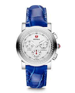 MICHELE Sport Sail Diamond Watch Head & Alligator Strap
