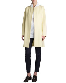 Jil Sander Raipur Collarless Open Coat & Rocky Bow-Belt Pants