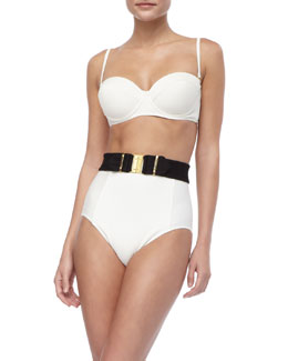 Gottex Textured Underwire Bikini Top, High-Waist Swim Bottom & Stretch Swim Belt