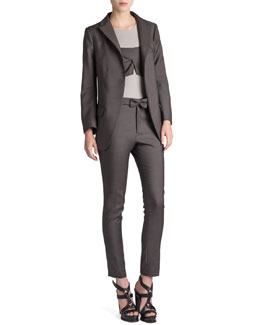 Jil Sander Reagan Long Wool-Silk Blazer, Roi Bandeau-Overlay Top & Rocky Bow-Belt Pants