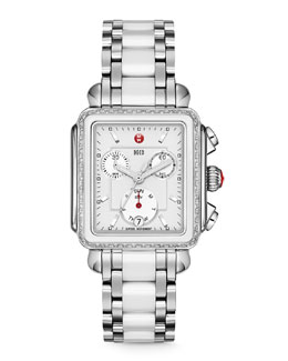 MICHELE Deco Diamond Ceramic/Steel Watch Head & Bracelet