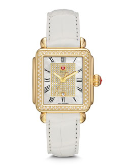 MICHELE Deco Diamond Watch Head & Alligator Strap