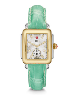 MICHELE Deco 16 Two-Tone 18-Diamond Watch Head & Alligator Strap