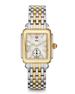 MICHELE Deco 16 Two-Tone 18-Diamond Watch Head & Bracelet