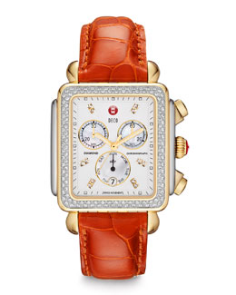 MICHELE Deco XL Diamond Two-Tone Watch Head & Alligator Strap