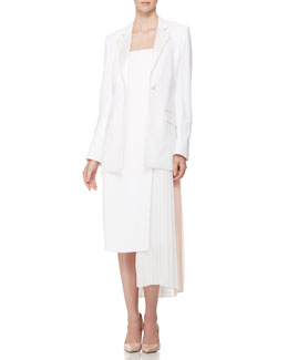 Adam Lippes Long-Sleeve Bar Jacket & Strapless Pleated-Panel Dress, White/Pink