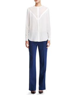 Adam Lippes Chevron Long-Sleeve Blouse & Permanent-Creased Wool Trousers