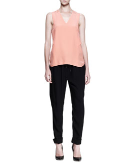 Alexander Wang Cross-Back Shirttail Tank and Tailored Tapered Track Pants