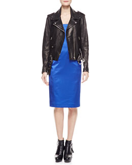 Acne Studios Long-Sleeve Leather Moto Jacket & Spaghetti-Strap Satin Dress