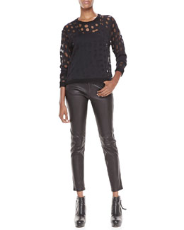 Acne Studios Dot-Cutout Sweater, Spaghetti-Strap Tank & Skinny Leather Pants