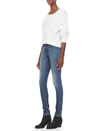 Cotton Fleece Sweatshirt & Skinny Denim Jeans