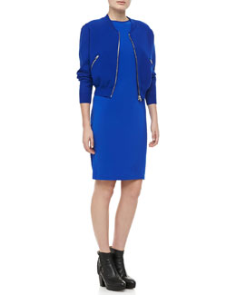 Acne Studios Baseball Zip-Up Jacket & Sleeveless Slim Jersey Dress