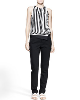 A.L.C. Laselz Optic-StripeTop and Guy Asymmetric-Waist Pants