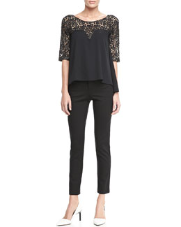 Catherine Malandrino Clara Lace-Top Blouse & Leather-Piped Ponte Pants