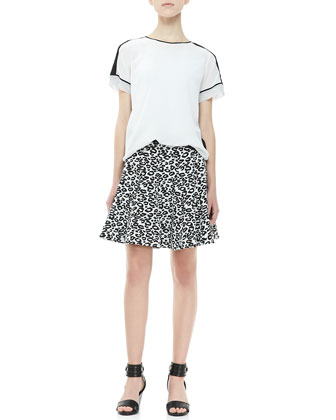Short-Sleeve Contrast Tee & Leopard-Print Flared Skirt