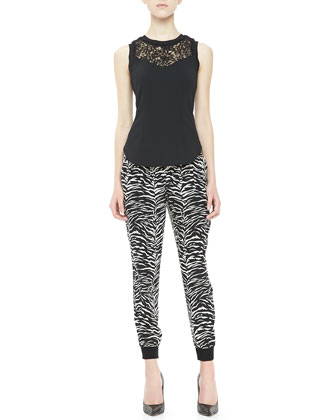 Ponte Lace-Neck Tank & Tiger-Print Track Pants