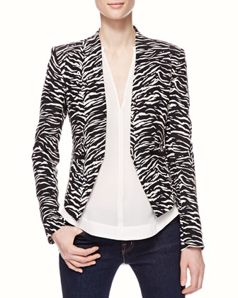 Tiger-Stripe Fitted Blazer & Lace-Back Silk Blouse