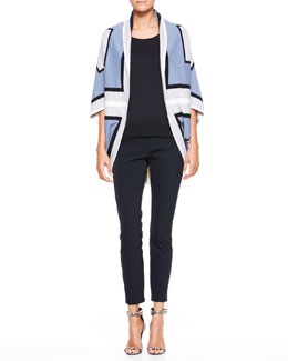 Escada Graphic Cocoon Sweater & Cropped Twill Pants