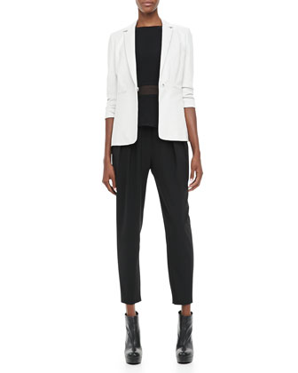 James Leather Blazer, Theia Sheer-Waist Tank & Darcy Pleated Relaxed Pants