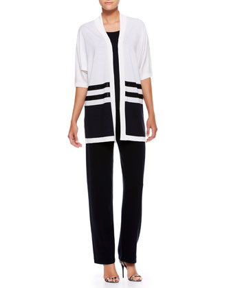 Colorblock Silk Sequin-Striped Top & Side-Button Pants