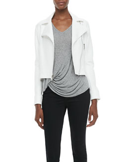 Elizabeth and James Plum Knit Biker Jacket & Denver Short-Sleeve Tee