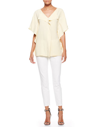 Side-Ruffled Blouse & Cropped Twill Pants, Off White