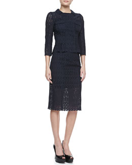 Nina Ricci 3/4-Sleeve Eyelet Jacket & Pencil Skirt