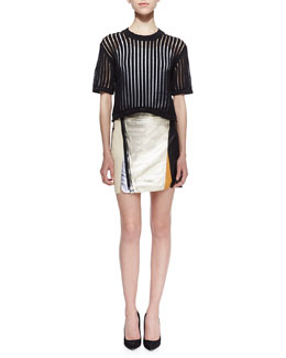 3.1 Phillip Lim Short-Sleeve Knit Cropped Pullover & Exposed Zip Biker Skirt