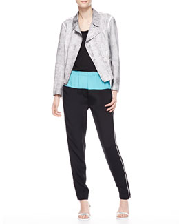 3.1 Phillip Lim Cropped Motorcycle Jacket, Sleeveless Muscle Tee & Jogging Pants with Zip Ankles