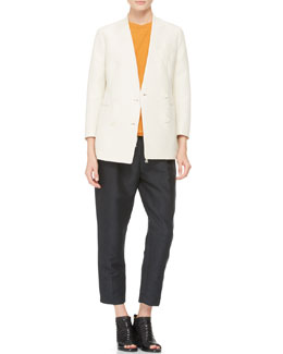 3.1 Phillip Lim Faux-Lapel Tuxedo Blazer, Half-Sleeve Baseball Shirt & Pleated Peg Pant with Drawstring