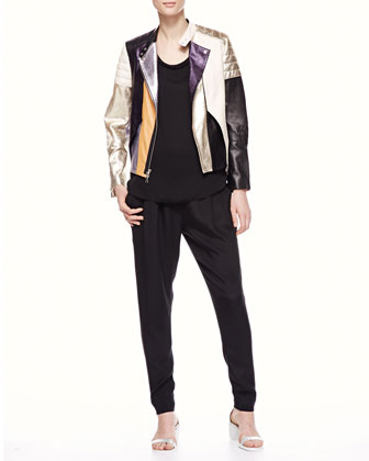 Shimmery Colorblock Leather Biker Jacket, Sleeveless Muscle Tee & Pocketed ...