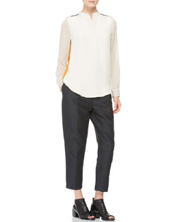 3.1 Phillip Lim Contrast Silk Blouse & Pleated Peg Pants with Drawstring