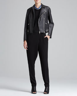 3.1 Phillip Lim Sculpted Leather Motorcycle Jacket & Sleeveless Jumpsuit with Draped Pants