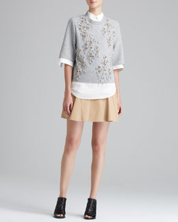 3.1 Phillip Lim Embellished Cropped Box-Tee, Open-Cuff Tuxedo Shirt & Peplum-Flare Skirt